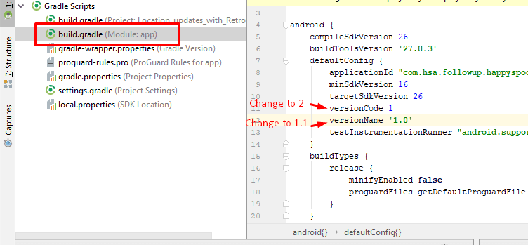 Change Version Number of App in Android Studio v 3 1 | | Freaky Jolly