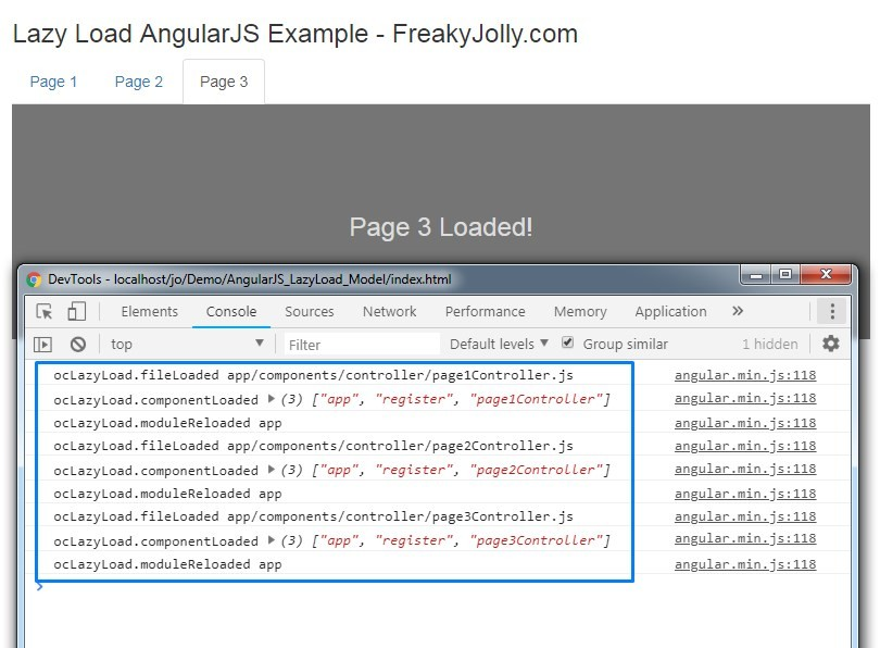 Lazy / Partial Load Modules and Controllers in AngularJS Example