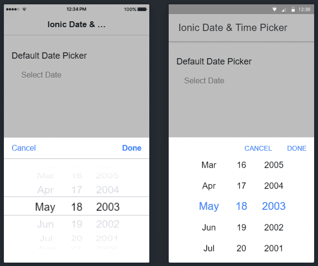 Ionic 5 Datepicker & Timepicker using Ionic UI Components Tutorial with Examples